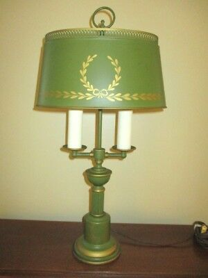 Antique Hand Painted Green Tole Metal Student Reading Library Double Table Lamp