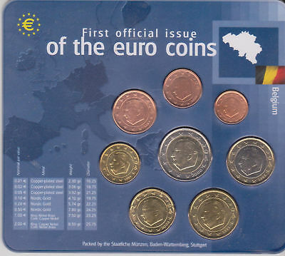 """Serie Bélgica en blister """"First Official Issue of the Euro Coins"""". Años mixtos"""