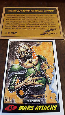 2014 Topps Idw Limited Mars Attacks Reprint Sketch Trading Card Dan Harding # 43