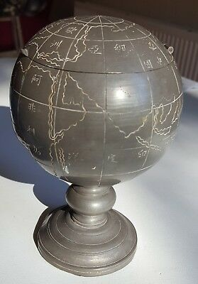 ANTIQUE CHINESE PEWTER GLOBE by KUT HING SWATOW