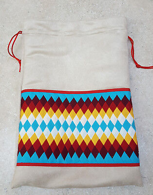 Nice New Home Made Seminole Fabric Patchwork Native American Indian Suede Bag