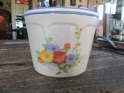 Vintage Universal Cambridge Grease Drip Bowl w/ Lid Cream Chrysanthemum Pattern