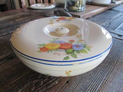 Vintage Universal Cambridge Covered Vegetable Bowl Cream Chrysanthemums
