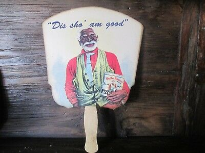 """Collectible Advertising Uncle Remus Syrup """"Dis sho' am good"""" Hand Held Fan"""