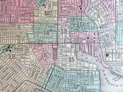 Baltimore city plan 1887 Mitchell Bradley large old detailed downtown map