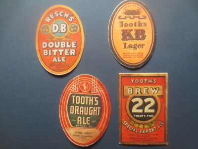4 different TOOTH,S Brewery,N.S.W. old label Issue collectable COASTERS