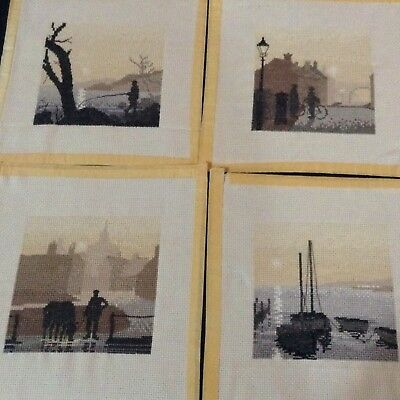 Vintage Completed Cross Stitch Set x 4