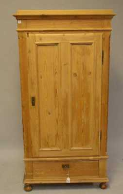 English Pine Hall or Kitchen Cupboard Armoire Single Door Over Single Drawer,