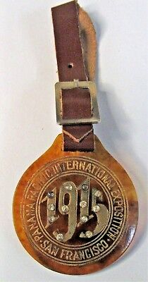 1915 PANAMA PACIFIC INTERNATIONAL EXPOSITION PPIE faux tortoise shell watch fob