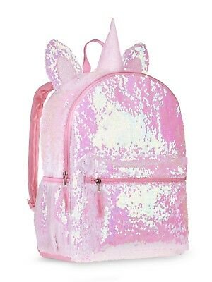 "Unicorn 2-Way Sequins Critter 16"" Backpack School Book Bag Tote"