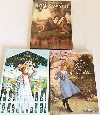 Lot of 3 Vintage Junior Illustrated Library Books Secret Garden Tom Sawyer Anne