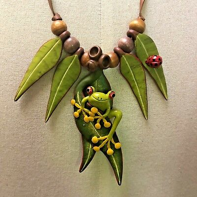 Tree Frog Necklace With Leaves Ladybug on Leather Neck Chain Hand painted