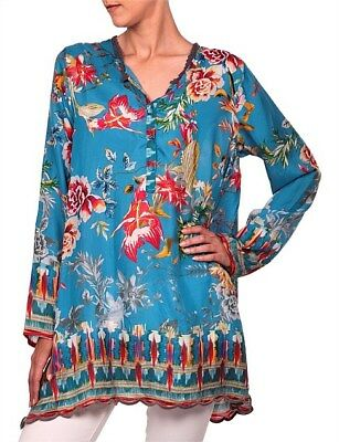 Nwt Johnny Was Mala Floral 100 Washable Silk Blouse Boho Top M L