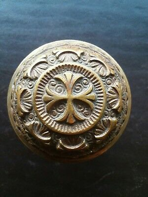 Beautiful Antique Brass Bronze Door Knob - Victorian Eastlake Solid Rare