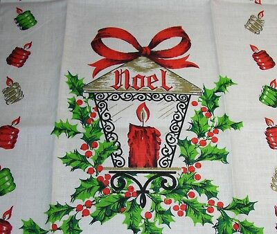 Nwt Vtg Linen Towel Christmas Noel Lantern Holly Berries Candle Gold Perfect