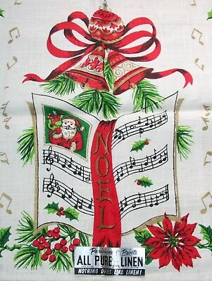 NWT VTG LINEN TOWEL CHRISTMAS SANTA NOEL SONG BOOK BELLS GOLD is PERFECT
