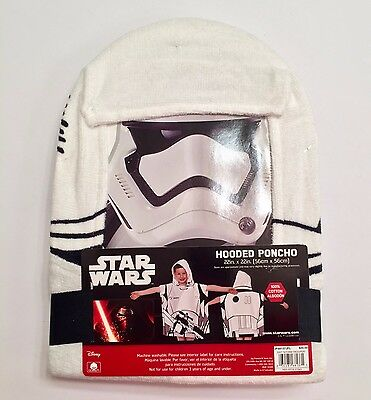 Star Wars Storm Trooper Hooded Towel Poncho Bath Towel Beach Disney Dress Up NIP