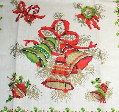 Nwot Vtg Linen Towel Christmas Bells Shiny Brite Candy Cane Gold Is Perfect