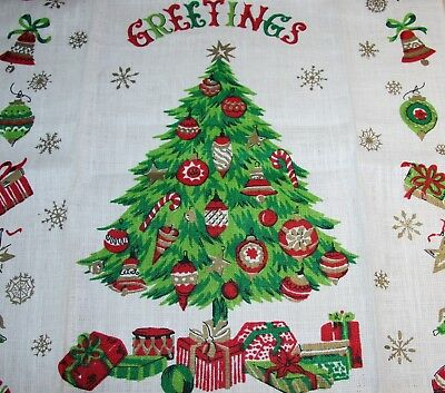 Nwot Vtg Linen Towel Christmas Greeting Tree Ornament Present Gold Perfect