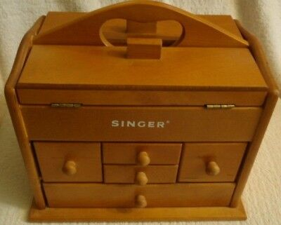 Small Wood SINGER Sewing Box with Handle & 10 Drawers