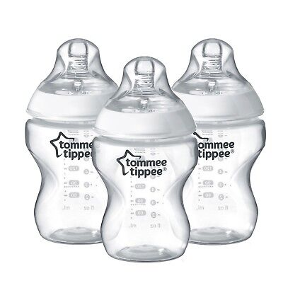 Tommee Tippee Closer to Nature 260ml / 9oz Decorated Feeding Bottles x 3 Clear