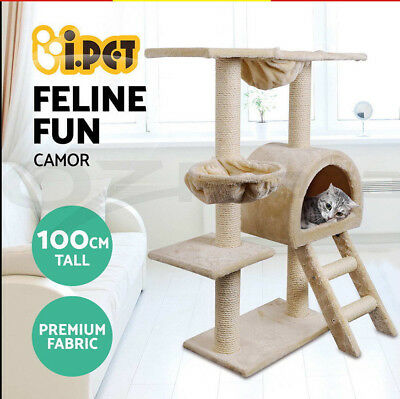 i.Pet Cat Scratching Tree Gym House Furniture Scratcher Pole Toy 100cm Beige