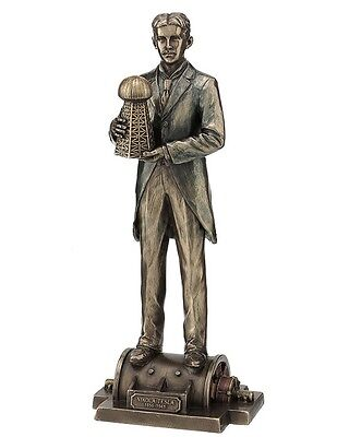 "12"" Nikola Tesla w/ Model Wardenclyffe Tower Statue Inventor Figurine Sculpture"