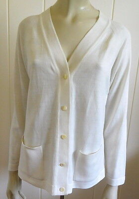 Lovely 1960/70s vintage cream cardigan with pockets size 12 - 14 (US 8 - 10)