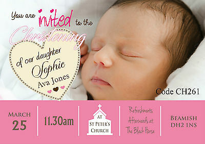 30 Baptism Invitations Girl With Envelopes Religious
