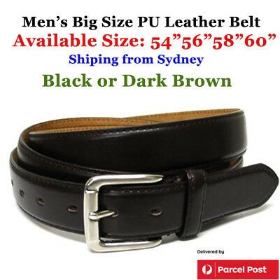 "Extra Large Men's Belt PU Leather 54""~60"" Quality Black/ Brown Stock from Sydney"