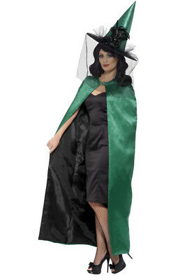 Reversible Black And Green Chatreuse Witch Cape Accessory Halloween Fancy Dress