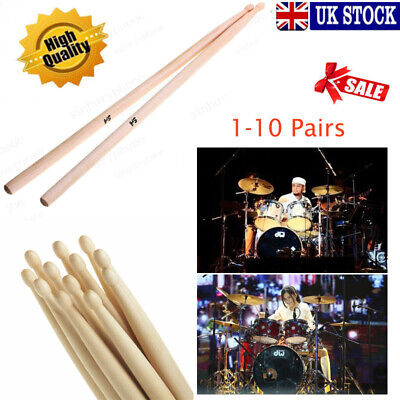 10 Pair Drum Sticks High Quality Maple Wood Tip 5A Drumsticks Percussion Sticks