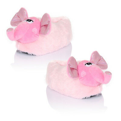 Womens Loungeable 3D Nelly Elephant Slippers Ladies Novelty Animal Plush Shoes