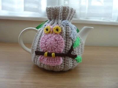 Owl Tea Cosy Knitting Crochet - Pink + Blue Applique Teapot Cover