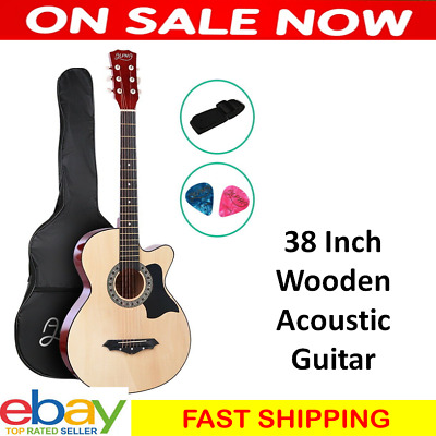 38 Inch Wooden Acoustic Guitar Black Student Maple Wood Fingerboard 3/4 Beginner