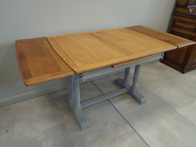 Antique Draw Leaf Oak Painted Shabby Chic Refectory Dining Table