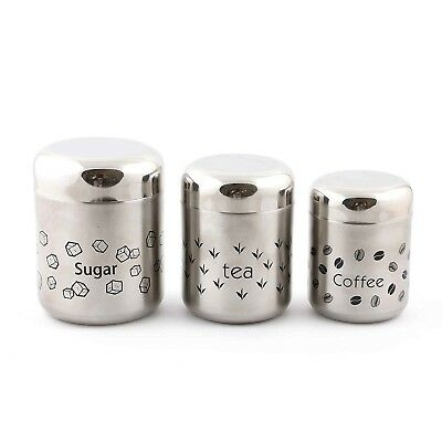 Stainless Steel Sugar, Tea, Coffee Canisters ( 3 Pcs Set )