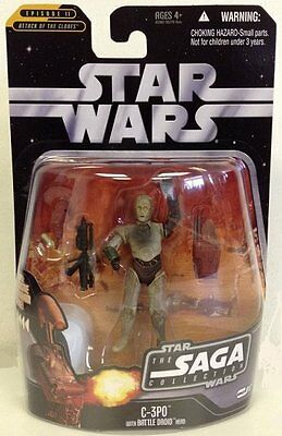 "C-3PO ( 4"" ) STAR WARS SAGA 2006 ACTION FIGURE #017 w/RED HAN SOLO HOLOGRAM FIG."