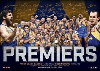"AFL WEST COAST EAGLES 2018 PREMIERS POSTER brand new SIZE 50 X 70 CM ""KENNEDY"""