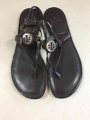 25ded4556  16 Authentic Tory Burch Brown Ali Sandals With Gold Logo Leather Size 10.M