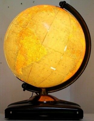 Antique 1949 Replogle Illuminated 10 Inch Terrestrial Lighted Glass World Globe.