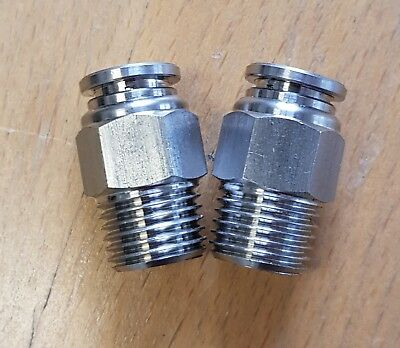 "Set of 2 Kelm 8mm 1/4""BSP Stainless Steel Push In Pneumatic Fittings SSPC8-02"