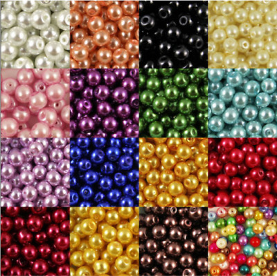 New wholesale Glass Pearl Round Spacer Loose Beads 4mm/6mm/8mm/10mm Multi Color