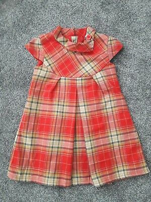 next baby girls 12 18 month christmas red dress tartan worn once