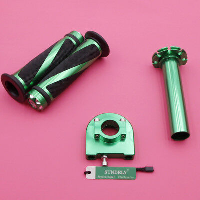 "Motorcycle Dirt Bike Scooter 7/8"" Green CNC Hand Grips Throttle Twist Tube Lever"