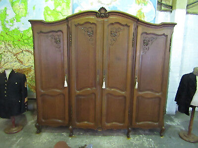 Superb bow top French 4 door carved oak Louis armoire,Shelves,wardrobe,Flat pack