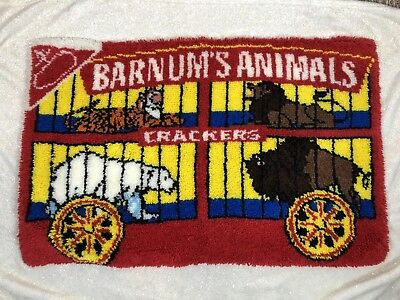 Barnum's Animals Crackers Wall Rug Latch Hook NWOT Red Small Wool Hand Made Vtg