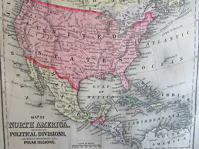 North America British Canada Mexico 1887 Mitchell Bradley old map hand colored