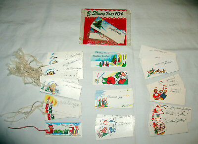83 Vintage Christmas Gift Tags with Strings Santa Birds Puppies more, Some NIP