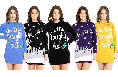 Ladies Christmas Jumper Dress Novelty Retro Womens Xmas Jumpers Knitted